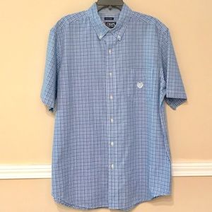 Chaps blue gingham plaid short sleeve button down